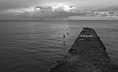 Concrete Pier in Odessa, Ukraine on the Black Sea Stock Photo