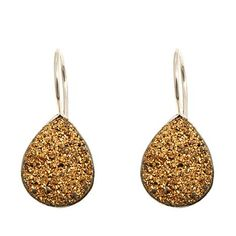 Himalayan Gems™ Goldtone Drusy Pear-Shaped Earrings