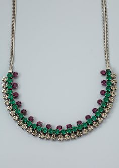 CARA COUTURE Triple-Row Crystal Necklace