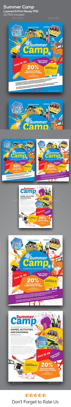 Kids summer camp flyer template for Promoting summer camp announcement. Everything is layered, grouped and well organised. Easy to edit the text, color & image. Simply edit the text & place the logo.