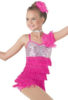 8502+On+The+Floor+-+This+nylon/spandex+biketard+features+hologram+sequins+on+the+bodice+and+a+feather+patch+at+the+shoulder.+Tiered+fringe+extends+down+the+biketard+to+complete+the+style.+Nylon/spandex+shorts+attached.+Imported.+Includes+:+Feather+patch+for+hair,+rhinestone+choker.+We+regret+that+we+cannot+ship+this+style+to+Australia+at+this+time.