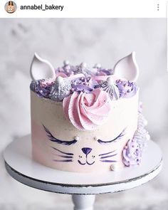 Hello cat lovers 🐈🐈🐈🐈😊Such a cute work from ❤ - Birthday Cake Blue Ideen Fondant Girl, Fondant Cakes, Cupcake Cakes, Birthday Cakes Girls Kids, Birthday Cake For Cat, Pretty Cakes, Cute Cakes, Animal Cakes, Girl Cakes