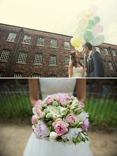 pink and green wedding flowers bouquet, image by Nicola Thompson Photography