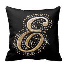 Elegant diamonds monogram E pillow