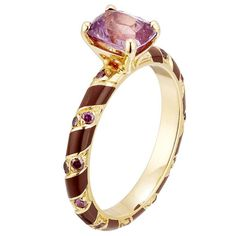 Alice Cicolini, 'Candy Kimono Diamond Stripe Engagement Ring', lacquer, raspberry and purple diamonds with lavender sapphire. Unusual Engagement Rings, Colored Engagement Rings, Engagement Ring Buying Guide, Purple Diamond, Diamond Cuts, Wedding Band Sets, Eternity Ring, Unique Rings, Sapphire