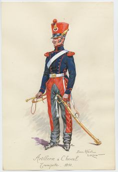 French; Horse Artillery, trumpeter, 1810 by P A Leroux
