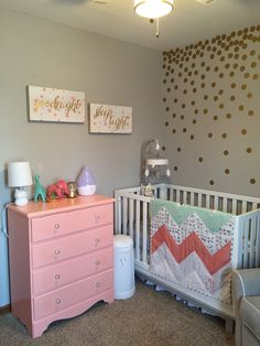 Pink and gold nursery, mint and coral nursery