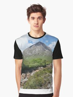 Buachaille Etive Mor falls on the River Coupall , the Highlands , Scotland Highlands Scotland, Tshirt Colors, Heather Grey, Classic T Shirts, Shirt Designs, Slim, River, Artists, Unique