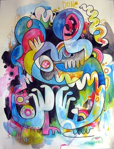 Jon Burgerman – Tired of Being Wired.  Posca pen and spray paint paintings. The pieces focus on the frustrations of extreme convenience.