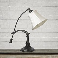 Desk Lamp With Linen Shade In Bronze