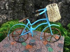 """Whimsical bicycle sure to please any gnome or fairy in your garden! Measures approximately2""""h x 3.25""""w"""