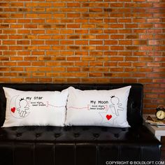 Your lover lights up your day, but what happens when the sun goes down? True love's light never ceases to brighten our lives. This celestially-themed couple pillowcase set shows that your devotion is