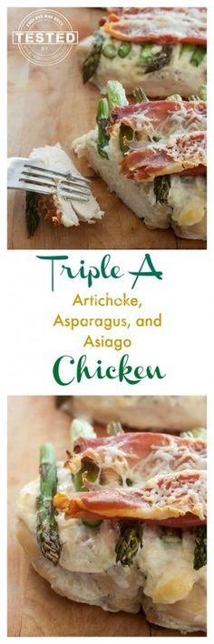 Triple A Chicken Bake - Artichokes, Asparagus and Asiago cheese topped chicken. The sauce on top is also a dip you will be licking off your plate! Crunchy Prosciutto topping makes this taste amazing!