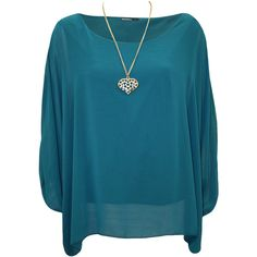 Nora Baggy Batwing Sleeve Necklace Top ($23) ❤ liked on Polyvore featuring tops, plus size, teal, layered tops, plus size layering tops, blue top, bat sleeve tops and teal tops