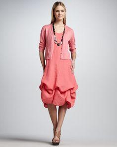 Eileen Fisher Cropped Lightweight Linen Cardigan & Handkerchief Long Cinchable Linen Dress, Women's - Neiman Marcus