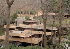 Fallingwater / Kaufman Residence. 1936-9. Bear Run Creek in Mill Run, Pennsylvania. Frank Lloyd Wright.t