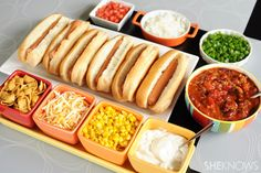 Chili bar with hot dogs..great idea for get togethers!