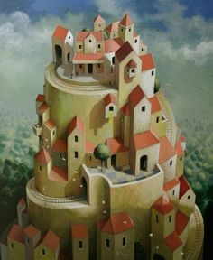 Michiel Schrijver (Dutch, born 1957, Surreal architecture painter, acrylic on canvas)