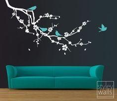 Ramo di fiori di ciliegio e Birds Decalcomanie da di styleywalls