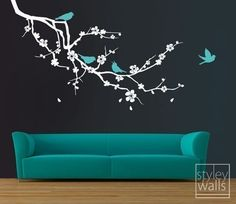 Cherry+Blossom+Branch+and+Birds++EXTRA+LARGE++Vinyl+by+styleywalls,+$89.00