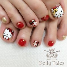 Hello Kitty Toes Drip Nails, Cat Nails, New Year's Nails, Cute Toe Nails, Cute Nail Art, Pretty Nails, Christmas Nail Designs, Christmas Nail Art, Hello Kitty Nails