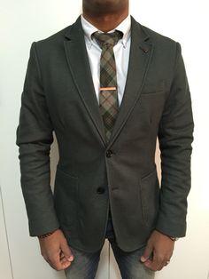 #street #style #men #fashion Men's fashion Green Blazer jacket, Orange Tie clip, beads, watch