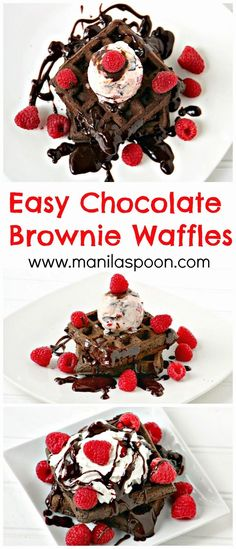 Surprise your loved ones with a yummy breakfast or brunch dish this Valentine's Day!? CHOCOLATE BROWNIE WAFFLES. Fancy it as a dessert? Serve warm with some ice cream on top!