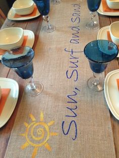 """Burlap Table Runner  12"""", 14"""", or 15"""" wide with Sun, Surf, and Sand ... 2 color paint by CreativePlaces on Etsy"""
