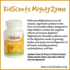 KidScents MightyZyme Chewable Tablets are an all-natural, vegetarian product in the form of chewable tablets designed to help children combat the negative effects of enzyme depletion. #kidscents #mightyzyme
