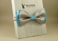 Gray Silver Blue Satin Bow Tie - Ready Tied Bow Tie - Adult Bow Tie - Mens bowtie - Groomsman, Wedding Bow Tie - Gift for Him - Mr.DEER