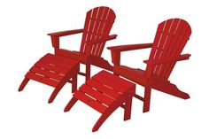 Polywood PWS137-1-SR South Beach 4-Piece Adirondack Set in Sunset Red