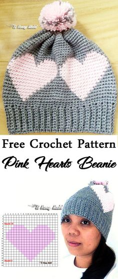 FREE PATTERN: Pink Hearts Beanie