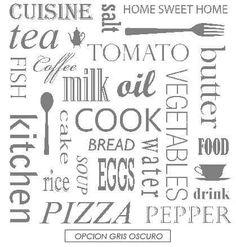 Resultado de imagen para vinilicos decorativos para cocina Vegetable Cake, Bread Soup, Oil Cake, Fish Oil, Print Patterns, Sweet Home, Diy, Stuffed Peppers, Alphabet