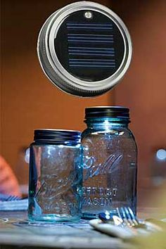 Moon Shiners Jar Lid, Chinaberry.com  Solar-powered lid for standard mason jar, turns the jar into a glowing light. $9.95