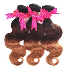Mike  Mary Ombre Hair Bundles Body Wave 1b427 Brazilian Hair 3 Bundles Lot Ombre Brazilian Hair Extensions Three Tone Color 7a Virgin Brazilian Hair Weaving 10 10 10inch -- Learn more by visiting the affiliate link Amazon.com on image.