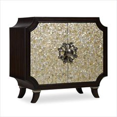Lowest price online on all Hooker Furniture Melange 2-Door Tavi Mother of Pearl Accent Chest in Dark Walnut - 638-85147