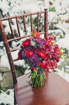 red-purple bouquet rustic