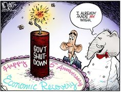 Christopher Weyant - The Hill - GOP Wishes COLOR - English - GOP, Republican, anniversary, economic crash, collapse, great recession, obama, recovery, cake, debt ceiling, government shutdown, congress, tea party
