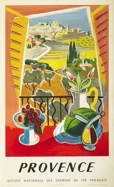 Vintage 1945 France travel poster depicting a colorful impressionist painting of the Provence countryside. This poster was issued by the French National Railroads promoting train travel and tourism to various destinations throughout France. Vintage French Posters, Vintage Travel Posters, French Vintage, Tourism Poster, Retro Poster, Poster Poster, Provence France, France Travel, Illustrations Posters