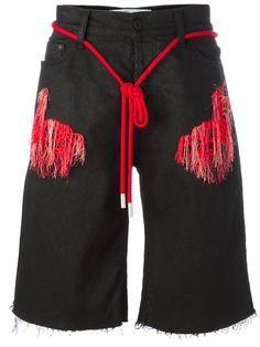 OFF-WHITE Striped Detail Denim Shorts. #off-white #cloth #shorts ...