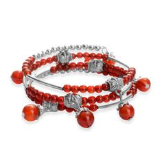 Red Agate Wrap Bracelet on Memory Wire