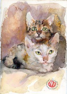 nnocence-Kittens- Original Акварел от Милена Вълчанова, художник картина, Fine Art единствена по рода си - оригинален произведение на изкуството - не по-печат.