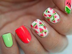 10 Watermelon Nail Art Ideas For The Summer nails nail nail art nail designs watermelon nails