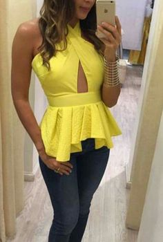 Pin by sneha dakoria on designers Yellow Fashion, Love Fashion, Girl Fashion, Fashion Design, Hijab Fashion, Fashion Outfits, Corsage, Fancy Tops, African Wear