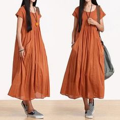 Loose Fitting Long Maxi Dress - Summer Dress  - Sleeveless Cotton Sundress for Women