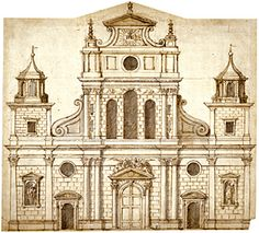 Inigo Jones, Design for the elevation for the west front of St Paul's, © RIBA Library Drawings Collection Architecture Drawings, Architecture Details, Chinoiserie, Library Drawing, Renaissance Architecture, Architectural Features, London City, Classic White, Gallery Wall