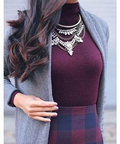 Marsala and grey outfit