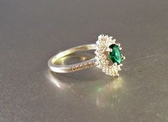 Sterling Halo Engagement Ring Emerald Quartz by LynnHislopJewels