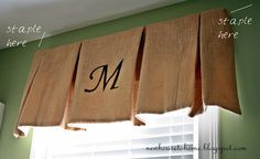 Stenciled Burlap Window Treatment: like it  I have done similar type of valance... Forgot all about it... Thinking ... Dinette