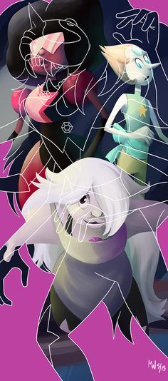 And next again for this print series…the whole trio together for Alexandrite! ———- Fusion series: Opal | Sugilite | Alexandrite | Garnet | Stevonnie | Malachite